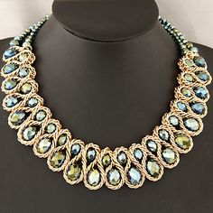 Fashion Necklaces for Women 2014 choker collar gold chain big chunky double crystal bead necklaces & pendants statement necklace-in Choker Necklaces from Jewelry on Aliexpress.com | Alibaba Group