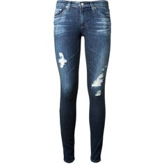 Adriano Goldschmied The Legging Blue Stretch Denim Distressed Jeans ($370) ❤ liked on Polyvore featuring jeans, pants, bottoms, skinny leg jeans, torn jeans, skinny fit jeans, ripped skinny jeans and ripped jeans