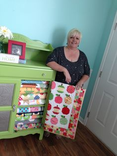 Lori and her #QuiltyFun projects, ready for a photo shoot!