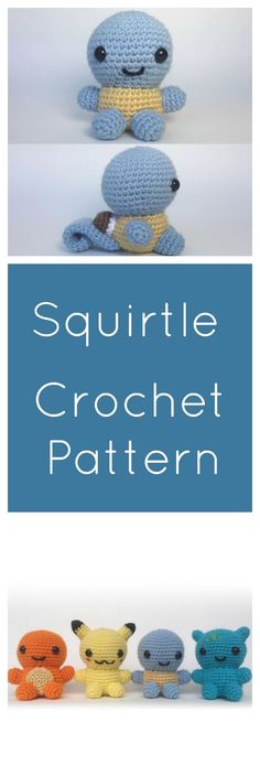 Make your own Start Pokemon, Squirtle! Free crochet amigurumi pattern made with worsted weight yarn.