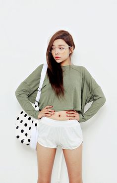 Long sleeve crop top and shorts.