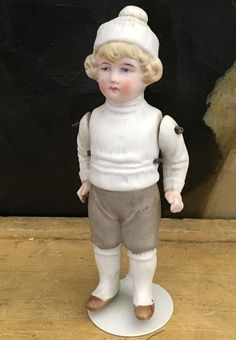 1890s German All Bisque Hertwig Doll Jointed Arms Sculpted Winter Clothing AR155