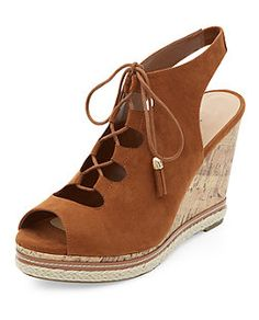 Wide Fit Tan Lace Up Sling Back Wedges  | New Look