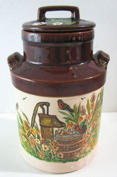 Vtg Betty Ford McCoy Pottery Milk Jug  Rooster Farm Hand Painted Folk Art #Wattpottery #mccoypottery #bettyford