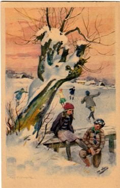 ˇˇ Danish, Illustrator, Christmas Cards, Children, Winter, Pretty, Pictures, Xmas Greeting Cards, Photos