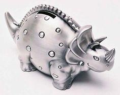 Pewter Money BOX Triceratops Baby NEW Baby Christening Birth | eBay