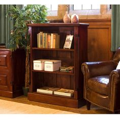 Buy the Solid Mahogany Low Open Bookcase - La Roque from Baumhaus today! A part of our Living Room Storage Furniture range. Mahogany Bookcase, Small Bookcase, Diy Bookcases, Rustic Bookcase, Mahogany Furniture, Wood Furniture, Home Office Furniture, Living Room Furniture, Living Room Storage