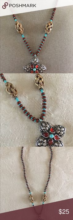"""RJ Graziano Coral & Turquoise Cross Necklace This necklace is designed by RJ Graziano and has faux Coral and Turquoise beads with a silver Tone cross.  It measures 16"""" long with a 4"""" extender.  The attached cross pendant has cabochons beads.  Great designer necklace and in excellent like new condition. RJ Graziano Jewelry Necklaces"""