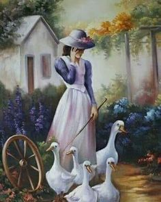 Maria Madalena, Artist ~c.c~ Walking The Geese~Painted On Linen Pictures To Paint, Art Pictures, Arte Country, China Painting, Fine Art, Beautiful Paintings, Figurative Art, Painting & Drawing, Landscape Paintings