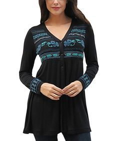This Black Embroidered Dallas Button-Front Tunic is perfect! #zulilyfinds