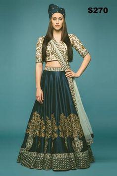 Dark Green Raw Silk Lehenga ,Indian Dresses - 1
