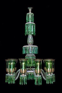 A Fine & Ornate Enamelled Overlay Ten-Light Osler Chandelier in clear, white & green glass with gilt enrichments. The firm of F & C Osler of London & Birmingham, were the leading makers of chandeliers & lighting during the Century. Antique Chandelier, Antique Lamps, Antique Lighting, Vintage Lamps, Chandelier Lighting, Glass Chandelier, Green Chandeliers, Lampe Applique, Deco Originale