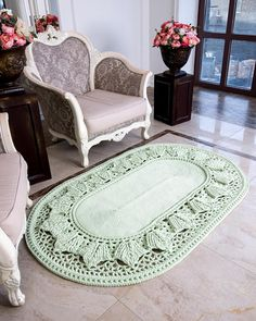 Big crochet rug, oval area rug (47х72 in), doily rug, yarn lace mat, cottage nursery carpet, rustic floor decor by LaceMats LaceHope This crocheted giant did not remain without attention of your visitors and households. It complements any interior, from the loft to the cottage. What gift