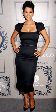 Halle Berry stepped out for the Variety Power of Women bash in a belted Roland Mouret LBD, dangling earrings and pointy-toe Jimmy Choo pumps.