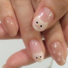 Kawaii Nail Art, Cute Nail Art, Cute Nails, Pretty Nails, Soft Nails, Simple Nails, Pink Nails, My Nails, Soft Grunge Nails