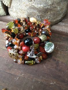 Harvest Happiness: Five Wrap Memory Wire Beaded Bracelet on Etsy, $40.00