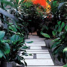 Caminhos de jardim - 12 fotos com pedriscos, pedras, cerâmica, madeira e outros revestimentos resistentes.