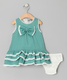 Take a look at this Mint Green Swiss Dot Ruffle Dress - Infant & Toddler by Les Petits Soleils on #zulily today! $26.87