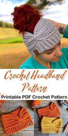 Make a Cozy Headband Pattern headband crochet pattern- ear warmer crochet pattern pdf - amorecraftyl Crochet Ear Warmer Pattern, Crochet Blanket Patterns, Crochet Stitches, Crochet Hooks, Beanie Pattern, Knitting Patterns, Crochet Headband Free, Crochet Beanie, Knit Crochet
