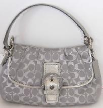 Coach Soho Metallic Signature Flap Bag F 18905-Light Grey/Silver NWT Shp Inc,Photons& NO SLICE/FEE