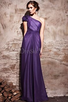 Dignified Floral One-shoulder for Column Military Dress with Center Draping Skirt
