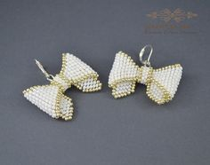 Cute small bow earrings white silver gift for her by SzkatulkaAmi