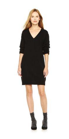V-Neck Sweater Dress in Black from Joe Fresh