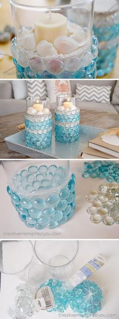The Chic Technique: Dollar Store Candle Vases and Aqua Clear Beads with Sand, Shells and Candle.