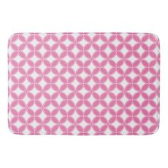 #flower - #Flower of Life Pink and White Motif Bathroom Mat