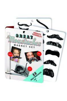Magnetic Moustaches...hold up photos of friends and family on your fridge in a funny way!