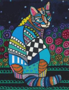 Cat Cross Stitch Kits By Heather Galler 'Cat With by GeckoRouge