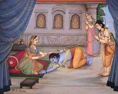 Rama says goodbye to his mother Kaushalya Krishna Sudama, Radha Krishna Pictures, Shiva, Ram Pic, Ramayana Story, Lord Sri Rama, India Poster, Lord Rama Images, Jai Hanuman