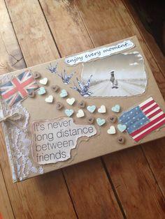 Photo album cover. Travel, long distance, friendship.