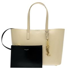 408fd1fac2b YSL Saint Laurent Tote Classic Monogram Nude Leather Shopper Bag New ...