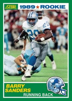 barry sanders football card images - Google Search Nfl Football Helmets, Football Memorabilia, Sport Football, Football Cards, Football Players, Baseball Cards, Nfl Facts, Nfl Detroit Lions, Sports Personality