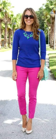 Take a look at the best pink pants outfit work in the photos below and get ideas for your own outfits! How to wear bright colors at the office with these fuchsia pink pants, navy and white striped boyfriend shirt… Continue Reading → Pink Pants Outfit, Hot Pink Pants, Pink Jeans, Colored Pants Outfits, Blue Skirt Outfits, Royal Blue Outfits, Women's Jeans, White Pants, White Shoes