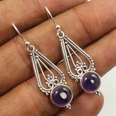 Natural AMETHYST Gemstones 925 Sterling Silver Jewelry Earrings Wholesale Offer #Unbranded #DropDangle