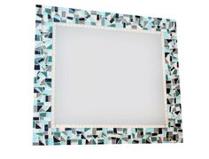 Mosaic Wall Mirror Teal and Gray Custom Made by GreenStreetMosaics, $150.00