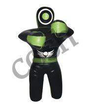 Black Leather in Green Stripes Standing Condition MMA Grappling Dummy Cosh international Supplier of Jui Jitsu Dummies,DU-7585-i