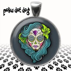 Teal Sugar Skull  Day of the Dead Large by Polkadotdog on Etsy
