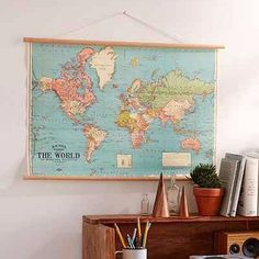 Transport yourself to another time and place with these Vintage World Map posters made into traditional classroom charts. Wanderlust adventurers need a world map on the wall of your office, bedroom, lounge, kitchen. Perfect to hang with timber hanger and twine for that authentic vintage look. Luxury Italian archival paper stock.  Size: 500 x 700mm (19.6 x 27.5 inches)  Kit includes everything you need to accent your walls with the perfect art piece. World map paper with 2 ready-to-hang…