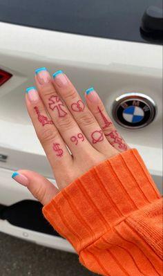 Cute Hand Tattoos, Dainty Tattoos, Pretty Tattoos, Finger Tattoos, Red Ink Tattoos, Mini Tattoos, Tatoos, Nail Tattoo, Piercing Tattoo