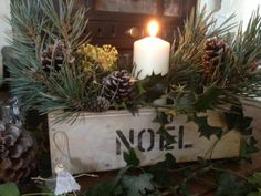"""this lovely aged and distressed""""Noel"""" wooden box is ideal for festive displays of foliage and candles , available from Devonshire Dumplings shop on Etsy or Facebook"""