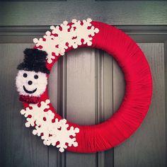 DIY Yarn Christmas wreath.  Cute idea for the classroom.