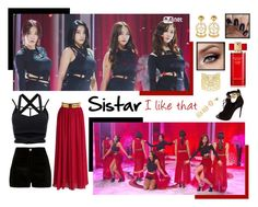 """Sistar """"I like that"""" black & red ver. by bambam7a1 on Polyvore featuring polyvore мода style Chicwish River Island Giuseppe Zanotti Vélizance Asha by ADM LULUS Estée Lauder fashion clothing"""