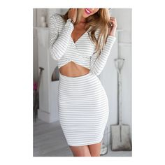 Yoins Sexy V Neck Cross Front Midriff-baring Stripe Party Dress (38 BAM) ❤ liked on Polyvore featuring dresses, zipper dress, fitted dresses, sexy zipper dress, sexy dresses and zip dress