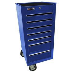 Homak Professional 17 in. 7-Drawer Side Cabinet, Blue, Powder Coat