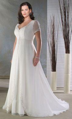 Empire Sheer Short Sleeve Plus Size Wedding Dresses
