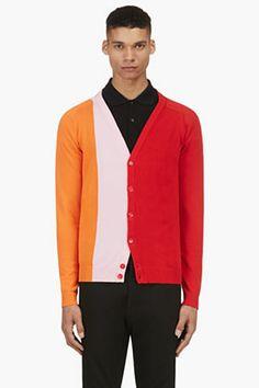Raf Simons Red & Orange Intarsia Colorblock Cardigan for men   SSENSE