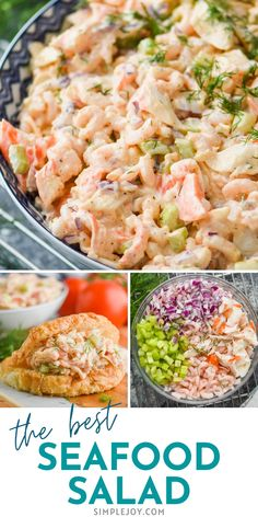This Seafood Salad recipe only takes about 10 minutes to throw together and is so much better than what you buy at the grocery store. Sea Food Salad Recipes, Entree Recipes, Sandwich Recipes, Lunch Recipes, Breakfast Recipes, Dinner Recipes, Simple Recipes, Great Recipes, Favorite Recipes